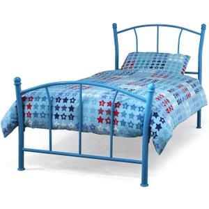 Serene Furnishings Serene Penny 3ft Blue Metal Bed, Blue