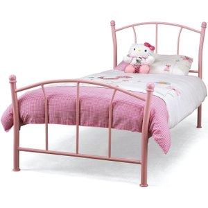 Serene Furnishings Serene Penny 3ft Pink Metal Bed, Pink Gloss