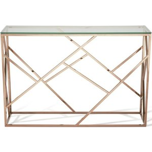 Serene Furnishings Serene Phoenix Console Table - Glass And Rose Gold