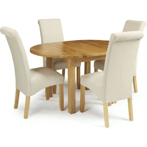 Serene Furnishings Serene Sutton Oak Round Extending Dining Table And 4 Cream Fabric Kingston Chairs, Oak