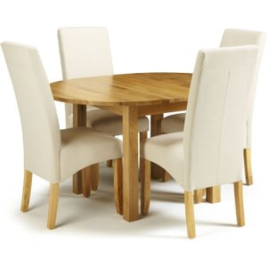 Serene Furnishings Serene Sutton Oak Round Extending Dining Table And 4 Putty Fabric Merton Chairs, Oak
