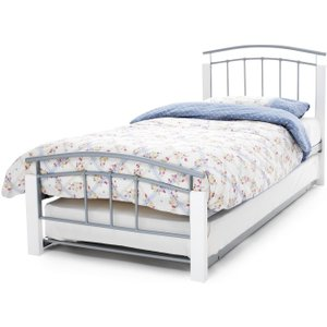 Serene Furnishings Serene Tetras Metal Guest Bed - White And Silver, White and Silver
