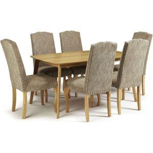 Serene Furnishings Serene Westminister Oak Dining Table And 6 Bark Fabric Kensington Chairs, Oak