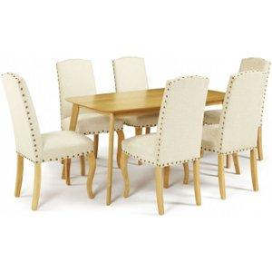 Serene Furnishings Serene Westminister Oak Dining Table And 6 Pearl Fabric Kensington Chairs, Oak