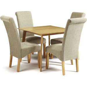 Serene Furnishings Serene Westminister Oak Square Dining Table And 4 Sage Fabric Kingston Chairs, Oak