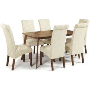 Serene Furnishings Serene Westminister Walnut Dining Table And 6 Cream Floral Kingston Chairs, Walnut
