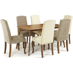 Serene Furnishings Serene Westminister Walnut Dining Table And 6 Multi Color Fabric Kensington Chairs, Walnut