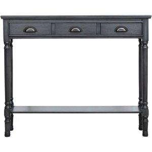 Deco Home Serra Grey 3 Drawer Console Table, Grey