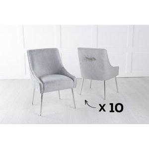 Urban Deco Set Of 10 Giovanni Soft Light Grey Velvet Dining Chair With Back Handle / Chrome Legs, Light Grey