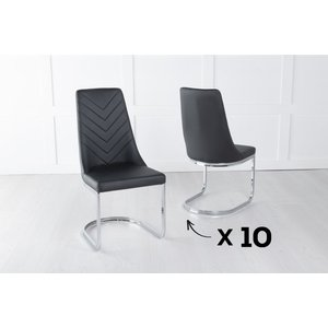 Urban Deco Set Of 10 Phoenix Black Leather Dining Chair With Brushed Stainless Steel Cantiliver Base, Black and Chrome
