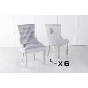 Urban Deco Set Of 6 Light Grey Velvet Lion Knocker Dining Chair / Chrome Legs - Scoop Back, Light Grey