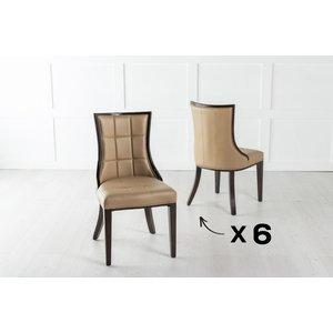 Urban Deco Set Of 6 Paris Beige Faux Leather Dining Chair, Beige