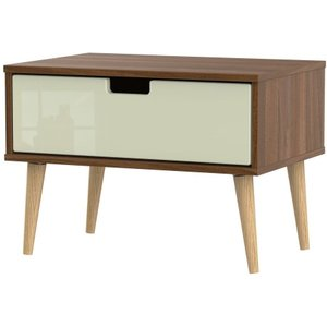 Welcome Furniture Shanghai 1 Drawer Bedside Cabinet With Natural Legs - High Gloss Cream And Noche Walnut, High Gloss Cream and Noche Walnut