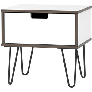 Welcome Furniture Shanghai High Gloss White 1 Drawer Bedside Cabinet With Hairpin Legs, High Gloss White Front and Matt White Carcase