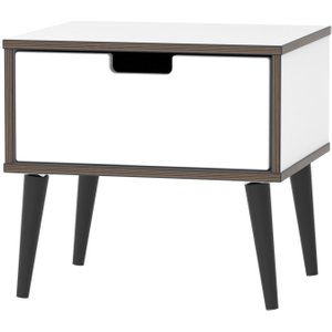 Welcome Furniture Shanghai High Gloss White 1 Drawer Bedside Cabinet With Wooden Legs, High Gloss White