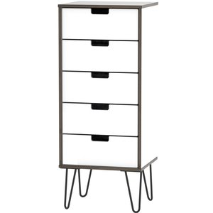 Welcome Furniture Shanghai High Gloss White Tall Bedside Cabinet With Hairpin Legs, High Gloss White Front and Matt White Carcase