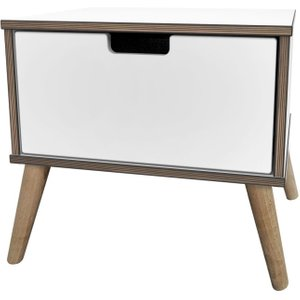 Welcome Furniture Shanghai White 1 Drawer Bedside Cabinet With Natural Legs, White