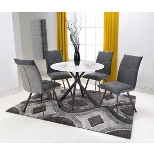Shankar Enterprises Shankar Avesta White Glass Round Dining Table And 4 Ariel Dark Grey Chairs, White