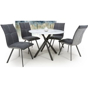 Shankar Enterprises Shankar Avesta White Glass Round Dining Table And 4 Ariel Dark Grey Chairs, White and Dark Gery