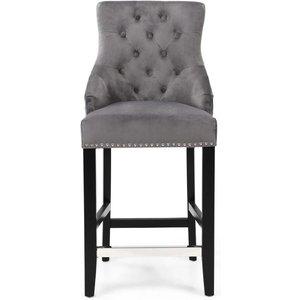 Shankar Enterprises Shankar Chandler Grey Brushed Velvet Tufted Knockerback Bar Chair, Grey and Black