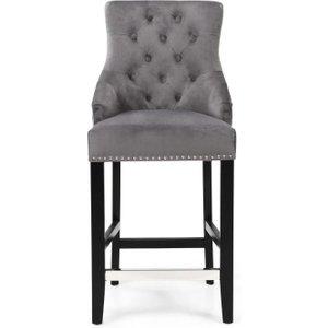 Shankar Enterprises Shankar Chandler Grey Brushed Velvet Tufted Knockerback Bar Chair, Grey