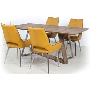 Shankar Enterprises Shankar Light Auburn Rectangular Dining Set With 4 Medallion Yellow Leather Swivel Chairs , Light Auburn
