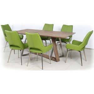 Shankar Enterprises Shankar Light Auburn Rectangular Dining Set With 6 Grass Green Leather Swivel Chairs - 180, Light Auburn