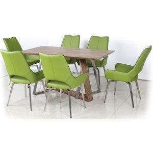 Shankar Enterprises Shankar Light Auburn Rectangular Dining Set With 6 Grass Green Leather Swivel Chairs - 150, Light Auburn