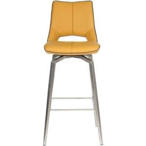 Shankar Enterprises Shankar Mako Yellow Leather Match Swivel Bar Chair, Medallion Yellow