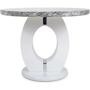 Shankar Enterprises Shankar Neptune Grey And White High Gloss Marble Top Round Dining Table 926 21 01