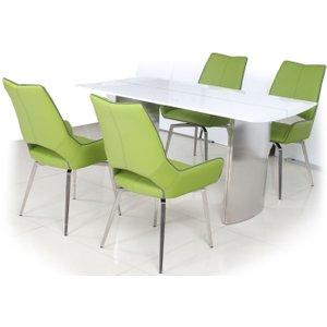 Shankar Enterprises Shankar White High Gloss Rectangular Dining Set With 4 Grass Green Leather Swivel Chairs -, White High Gloss