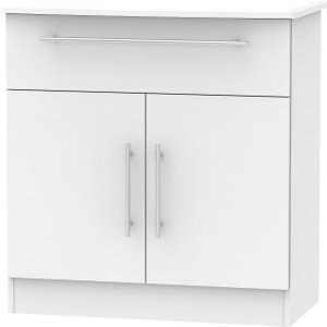 Welcome Furniture Sherwood Grey Matt 2 Door 1 Drawer Narrow Sideboard