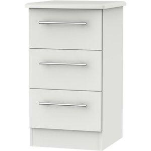 Welcome Furniture Sherwood Grey Matt 3 Drawer Bedside Cabinet, Grey Matt