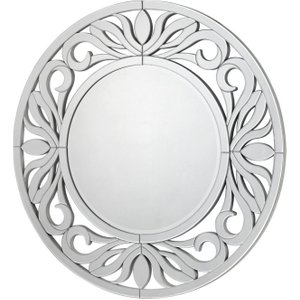 Deco Home Sicula Round Wall Mirror - Dia 118cm, Silver Trim
