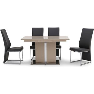 Fairmont Silvio Cream High Gloss Butterfly Extending Dining Table And 4 Remo Black Chairs, Cream High Gloss