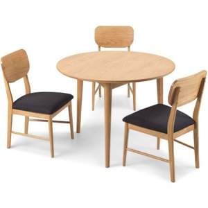 Hermitage Furniture Skean Oak Round Dining Table And Chairs, Matt Lacquered