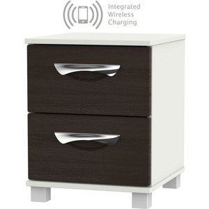 Welcome Furniture Somerset Graphite Klein 2 Drawer Bedside Cabinet With Integrated Wireless Charging, Graphite Klein