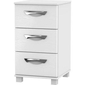 Welcome Furniture Somerset White Klein 3 Drawer Bedside Cabinet, White Klein