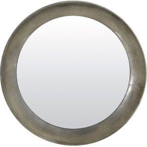 Light & Living Spirit Antique Silver Round Mirror - 80cm X 80cm, Silver
