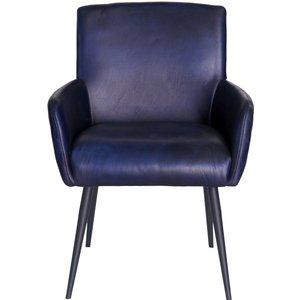 Urban Deco Stanton Blue Buffalo Leather Dining Chair, Blue