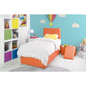 Swanglen Starburst Orange Fabric Childrens Bed Base, Starburst Orange