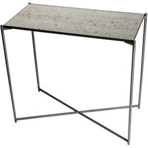 Space London Stockwell Antiqued Glass Top Small Console Table With Gun Metal Frame