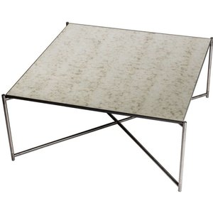 Space London Stockwell Antiqued Glass Top Square Coffee Table With Gun Metal Frame