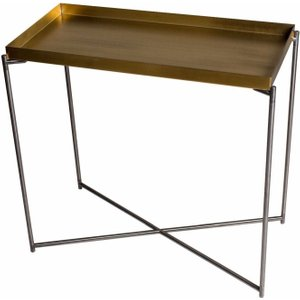 Space London Stockwell Brass Tray Top Small Console Table With Gun Metal Frame