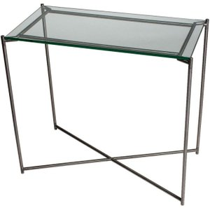 Space London Stockwell Clear Glass Top Small Console Table With Gun Metal Frame