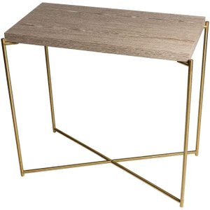 Space London Stockwell Weathered Oak Small Console Table With Brass Frame