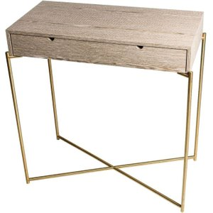 Space London Stockwell Weathered Oak Top 1 Drawer Small Console Table With Brass Frame