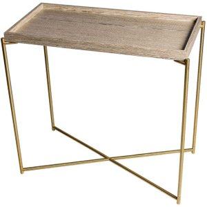 Space London Stockwell Weathered Oak Tray Top Oak Small Console Table With Brass Frame