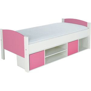 Stompa Storage Cabin Bed With Pink Headboard And Door, White Lacquered