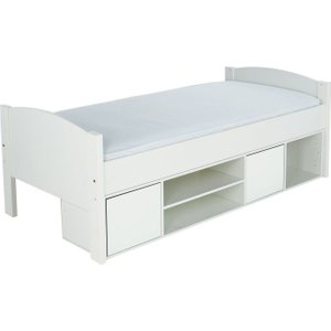 Stompa Storage Cabin Bed With White Headboard And Doors, white